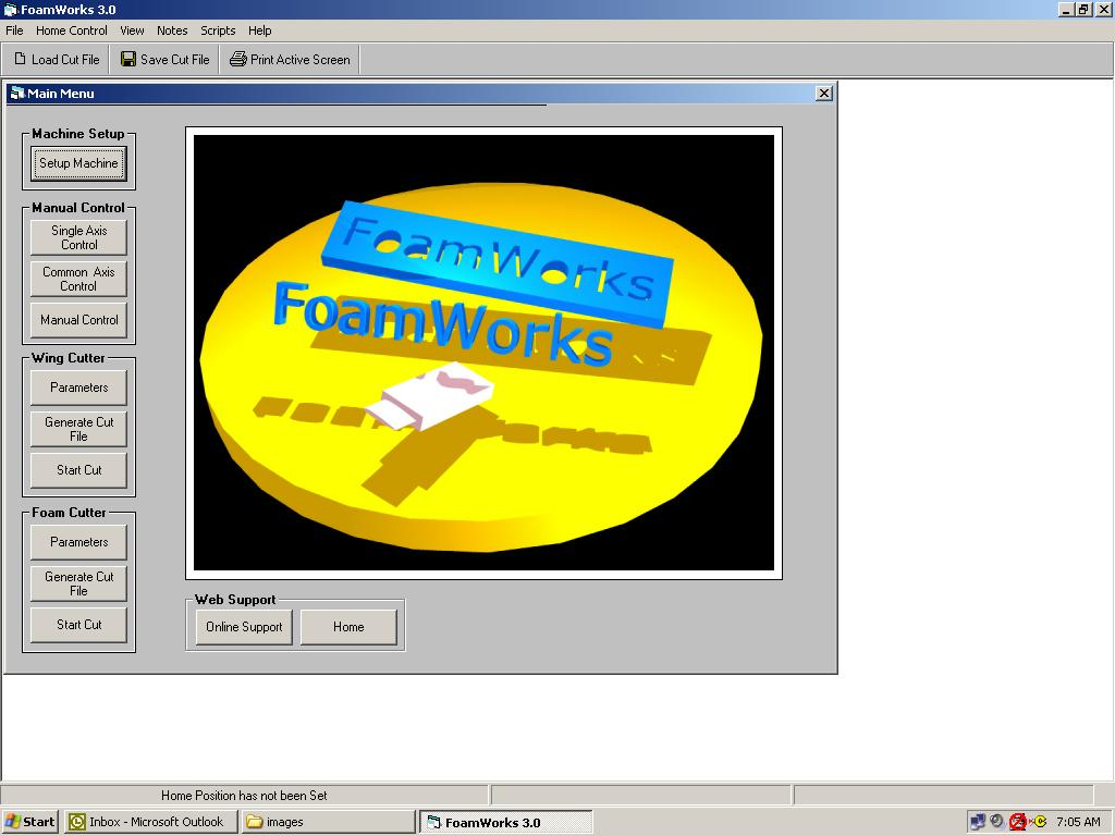 FoamWorks 3.0 Main menu